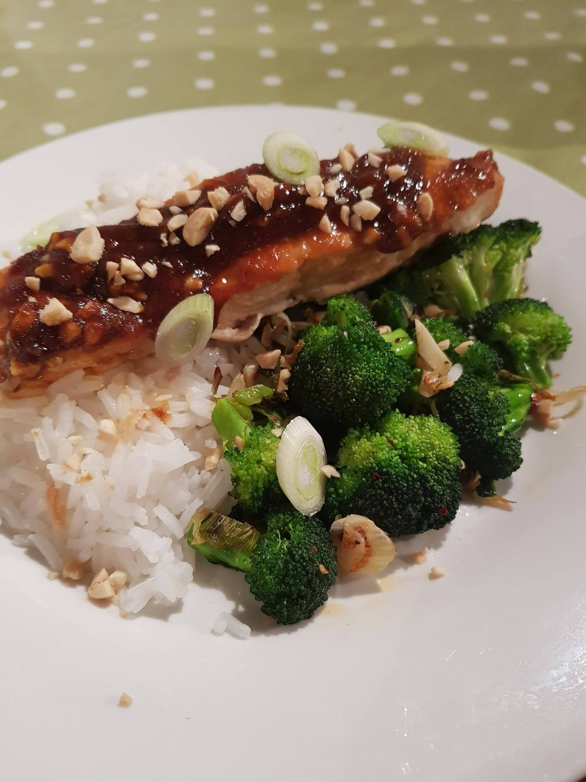 Sticky Salmon with Pan Roasted Garlic Broccoli